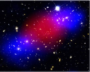 A new study reveals clear evidence of dark matter (blue), separated from ordinary, luminous matter (red) by a merger of galactic subclusters. (Photo courtesy of Maruša Bradač.)