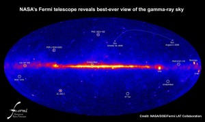This view from NASA's Fermi Gamma-ray Space Telescope is the deepest and best-resolved portrait of the gamma-ray sky to date. The image shows how the sky appears at energies more than 150 million times greater than that of visible light. Among the signatures of bright pulsars and active galaxies is something familiar--a faint path traced by the sun. Credit: NASA/DOE/Fermi LAT Collaboration