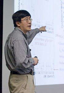CDF physicist Kai Yi, University of Iowa, unveiled the evidence of the Y(4140) particle to scientists at Fermilab at seminar yesterday afternoon, March 17, 2009.
