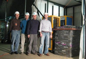 Left to right: Technician Kevin Kuk, physicist Juan Estrada, engineer Herman Cease, and physicist Ben Kilminster in their underground lair with the DAMIC detector.