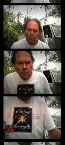 Neil Young wears a t-shirt designed by SLAC graphic designer Terry Anderson. (Images: RollingStone.com.)