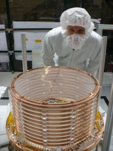 One half of EXO's xenon detector being assembled in a clean room.