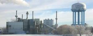 The power plant in Virginia, Minn., runs on both coal and wood.