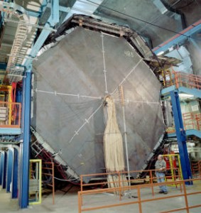 The MINOS particle detector, located a half mile underground in the Soudan Underground Laboratory in Minnesota, weighs 6000 tons.