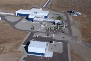 Aerial view of the LIGO interferometer at the Hanford, WA., site. Courtesy of Caltech.