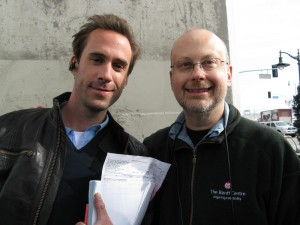 FlashForward star Joseph Fiennes and author Robert J. Sawyer. Image courtesy Robert J. Sawyer.