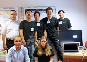 The SciDB team. From left, back row: Roman Simakov, Hideaki Kimura, Kian-Tat Lim, Emad Soroush, Daniel Wang; front row: Pavel Velikhov, Jennie Rogers. (Photo courtesy of Oleg Bartunov.)