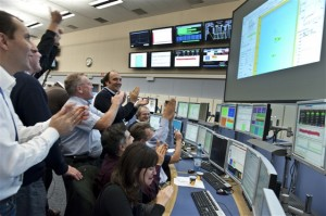 Celebrations on Friday, November 20, when the first beams of 2009 successfully circulated in the LHC.