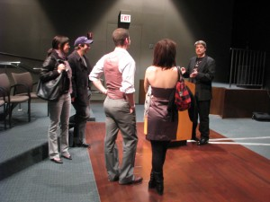 Lincoln answers questions after the lecture