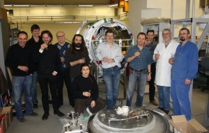 The INFN/LASA and IPNO teams celebrating the end of installation of the ADS cryomodule prototype at Orsay on 19 March 2010. Image: Paolo Pierini.