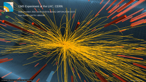 Image of a 7 TeV proton-proton collision in CMS producing more than 100 charged particles.