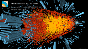 A lead-ion collision as recorded by the CMS detector at the LHC. <i>Image copyright CERN for the benefit of the CMS collaboration.</i>