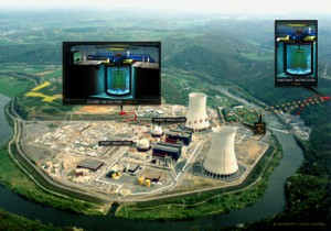 A view of the Chooz power plant highlighting the positions of both Double Chooz detectors. Credit: Commissariat à l'Énergie Atomique