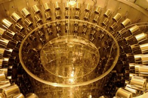 A view of the detector during construction. The neutrino target is at the center surrounded by metal cylinder photomultipliers which aid in particle detection. Credit: Commissariat à l'Énergie Atomique