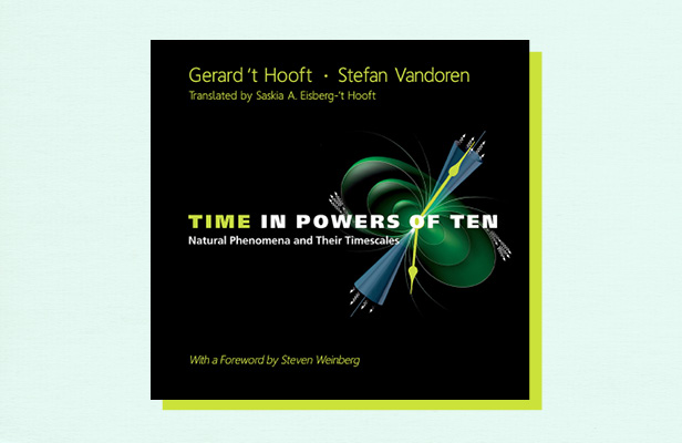 "Illustration of book cover ""Time in Powers of Ten"" by Steven Weinberg"
