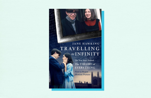 "Illustration of book cover ""Traveling to Infinity"" by Jane Hawking"