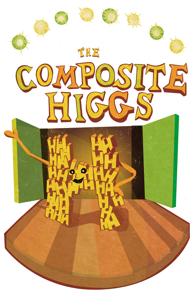 "Illustration of ""H"" made of ""H's"" on stage ""Composite Higgs"" in arch above"