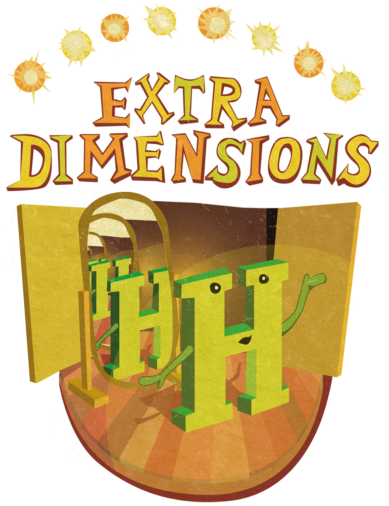 "Illustration of ""H"" on stage with mirror being it ""Extra Dimensions"" above"