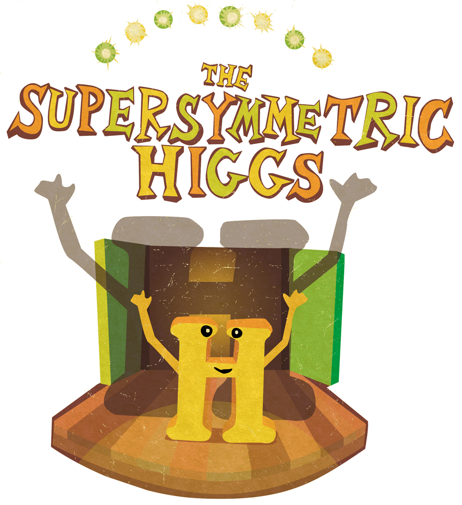 "Illustration of ""H"" on stage with ""The Supersymmetric Higgs"" above"