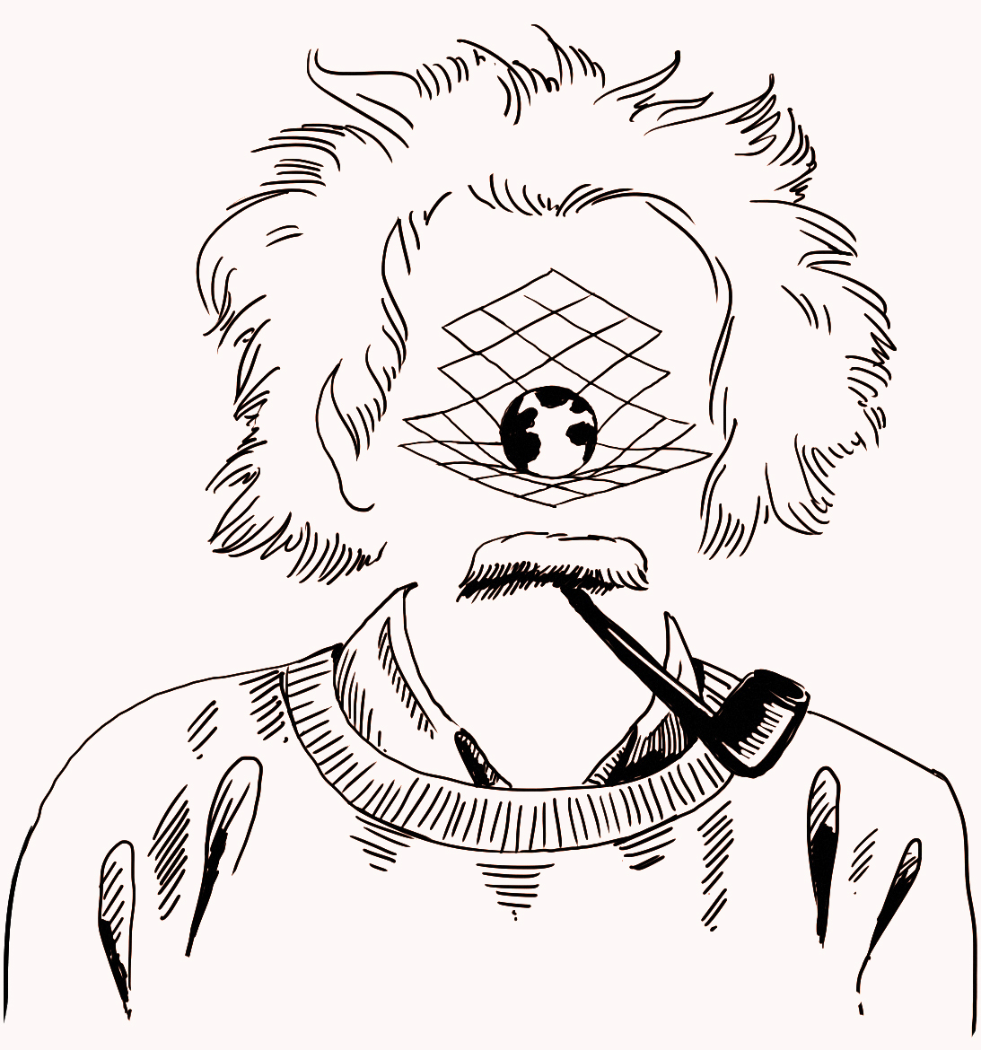 Illustration of Albert Einstein with gravitational waves over face