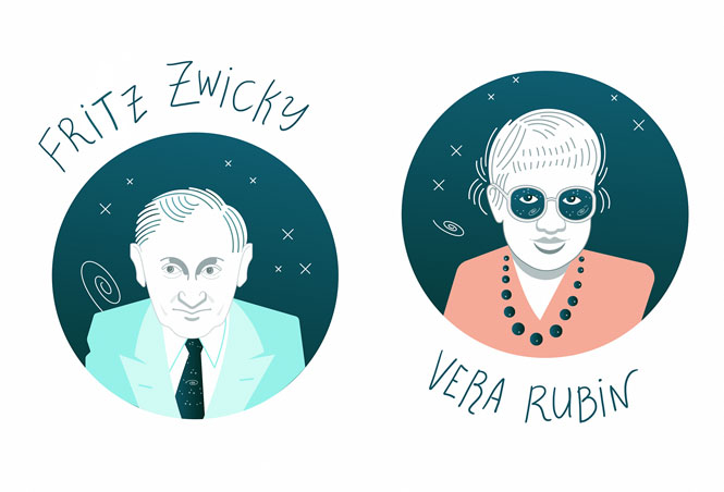 Illustration of Fritz Zwicky and Vera Rubin