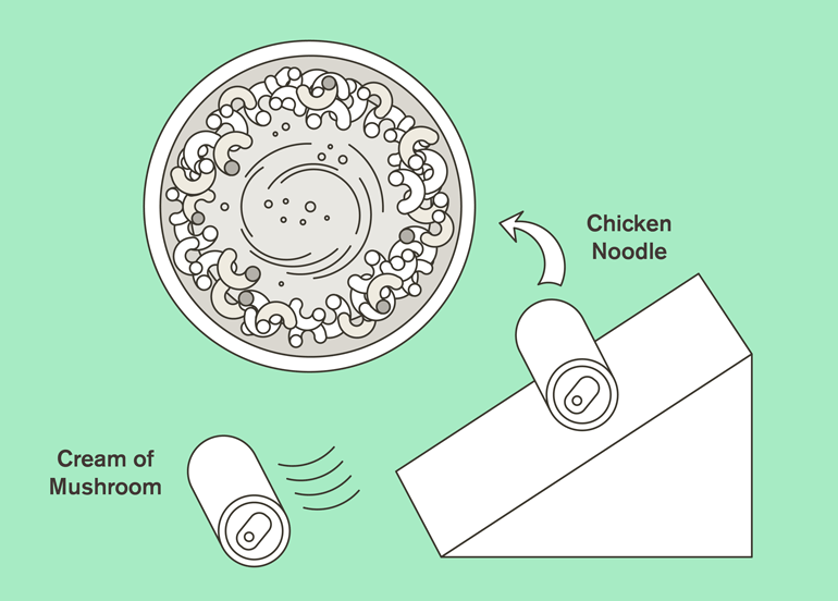 Illustration of chicken noodle and cream of mushroom