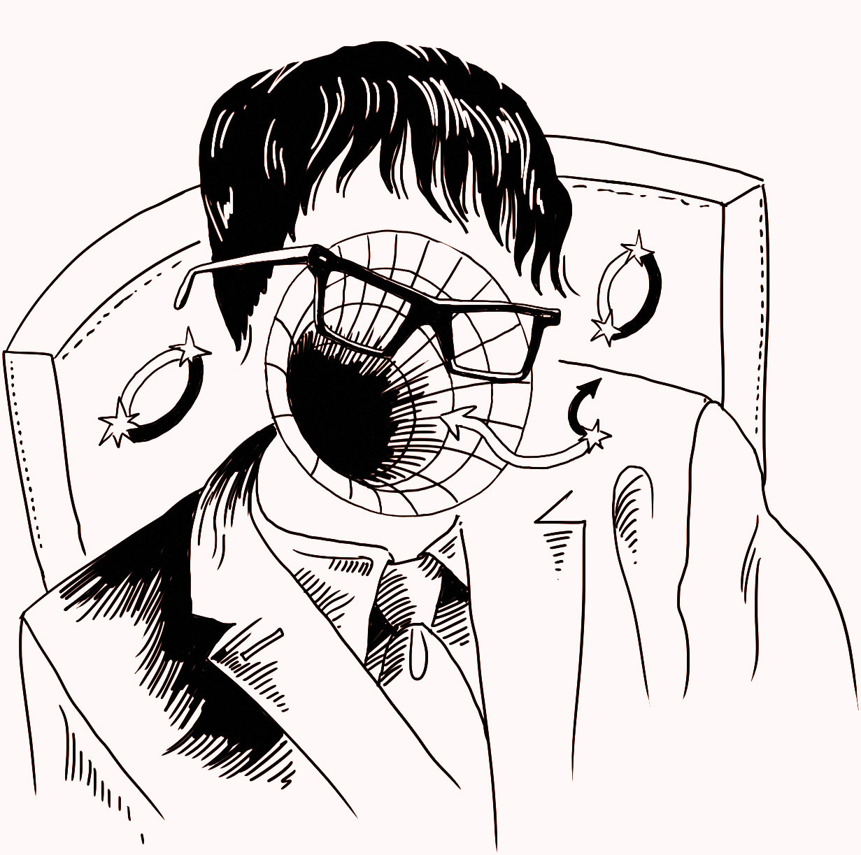 Illustration of Stephen Hawking with black hole over face