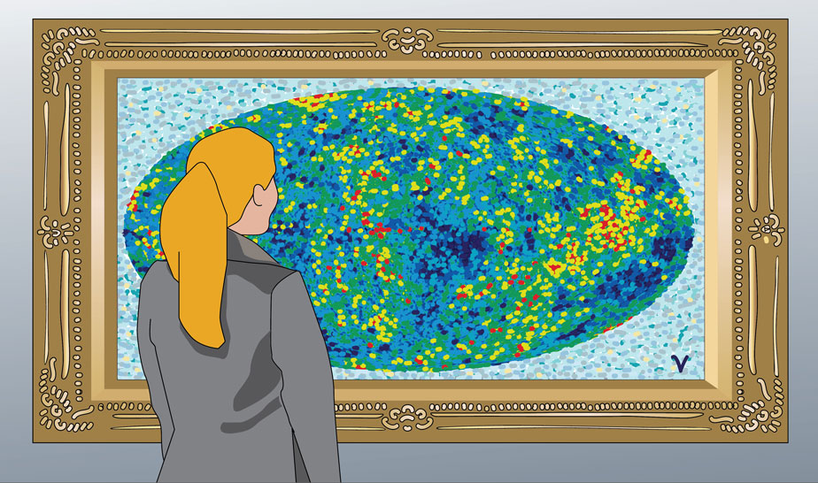 Woman looking at framed painting of heavenly neutrinos CMB