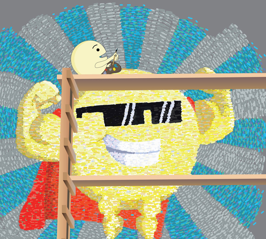 Sun with muscles, sunglasses, cape, and smaller sun sitting on top of him waiting wall