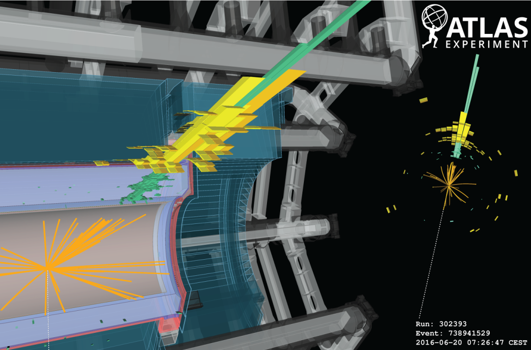 Image of a simulated event display showing what dark matter might look like in the ATLAS experiment at the LHC