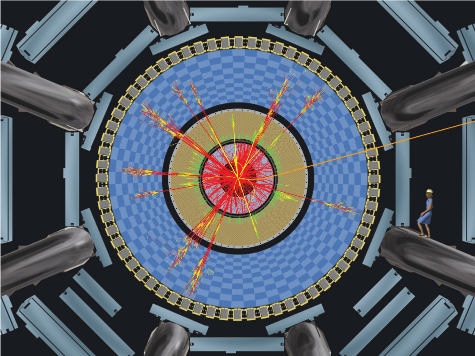 Image of a simulated black hole decay in a collision in the ATLAS detector