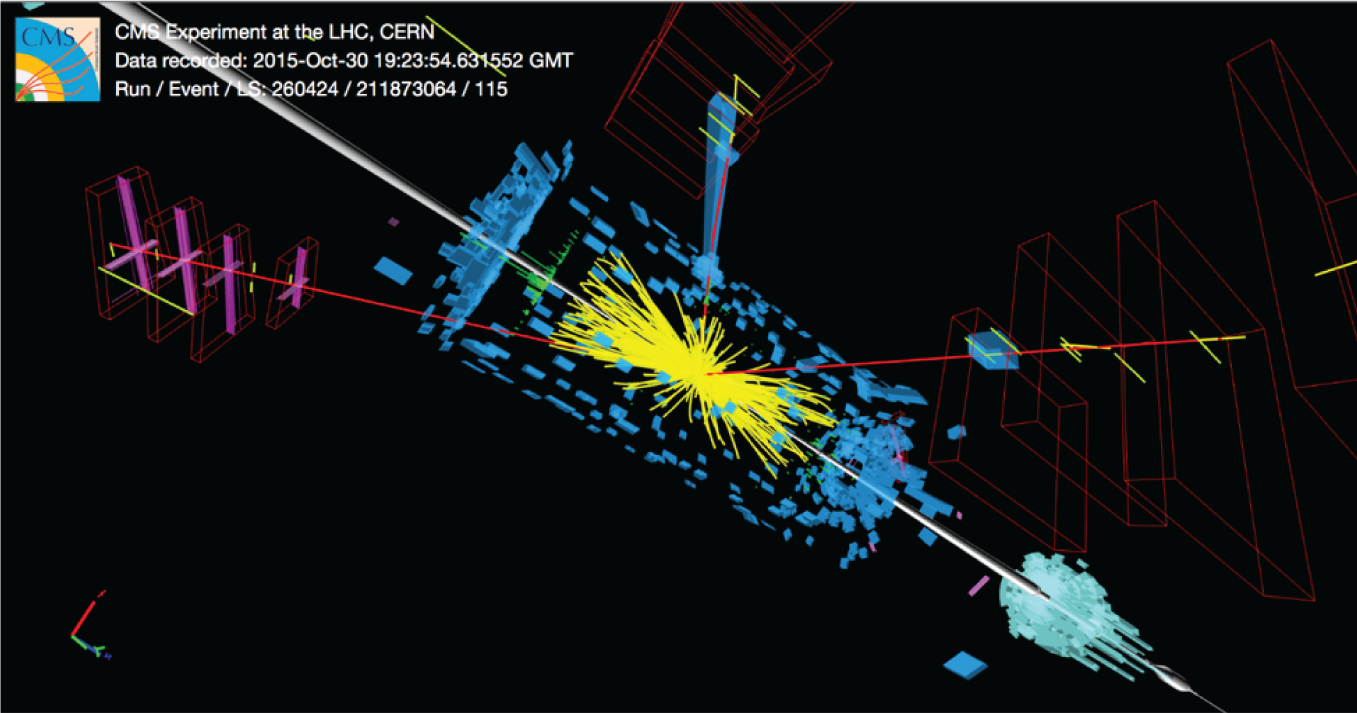 Image of a simulated event display from the CMS experiment