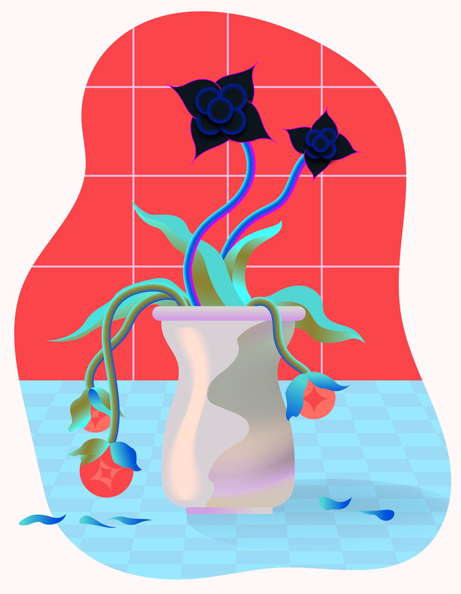 """Vase with decaying flowers and non-decaying dark matter """"flowers"""""""