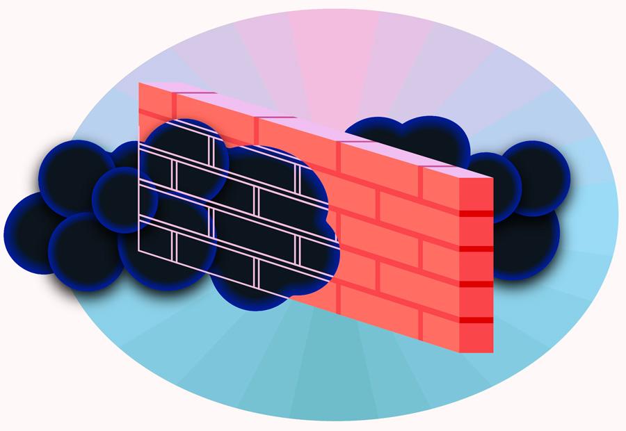 Dark matter clouds passing through a brick wall