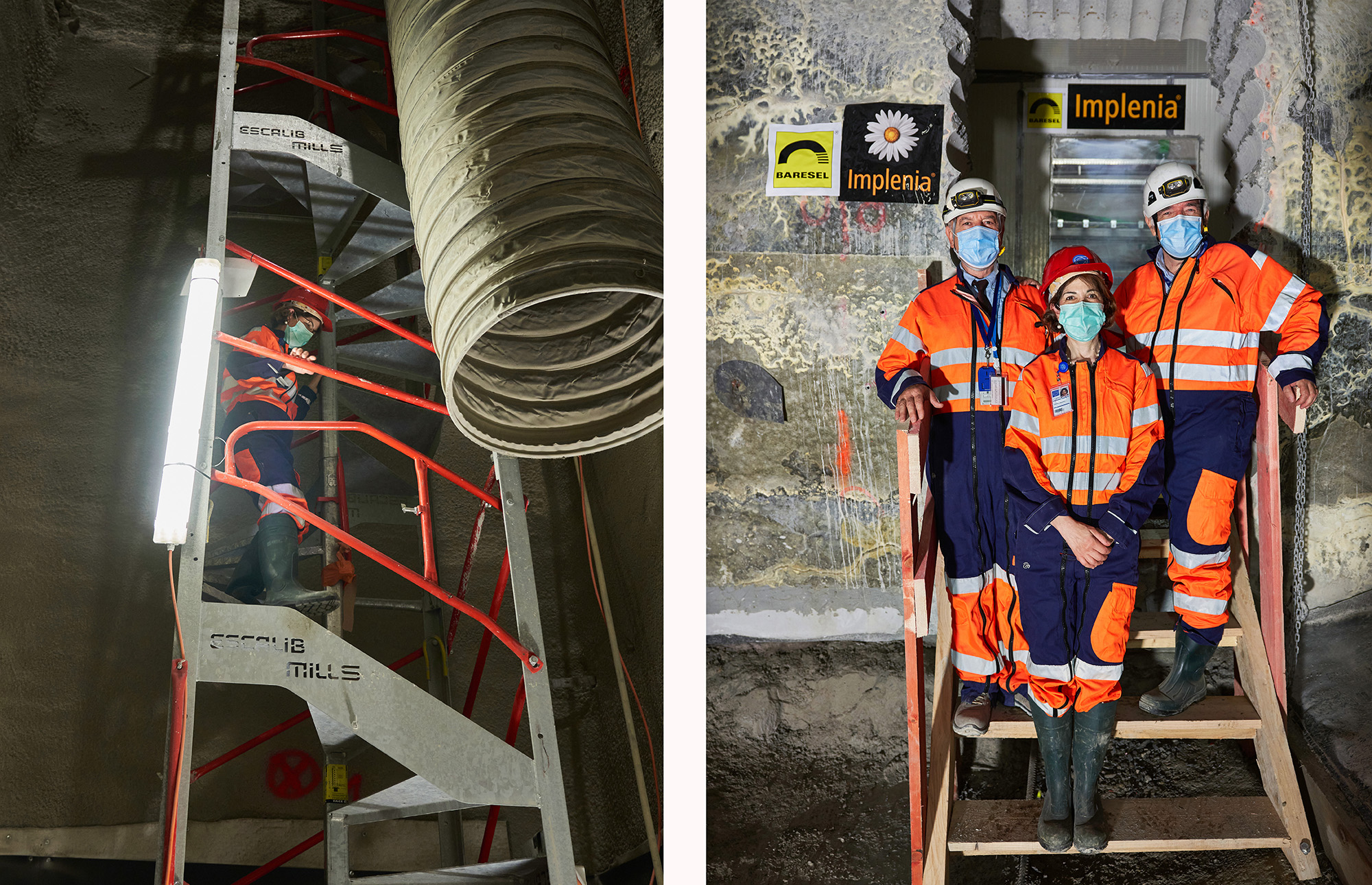 Leaders at CERN, dressed in orange work suits, descend the stairs and pose underground