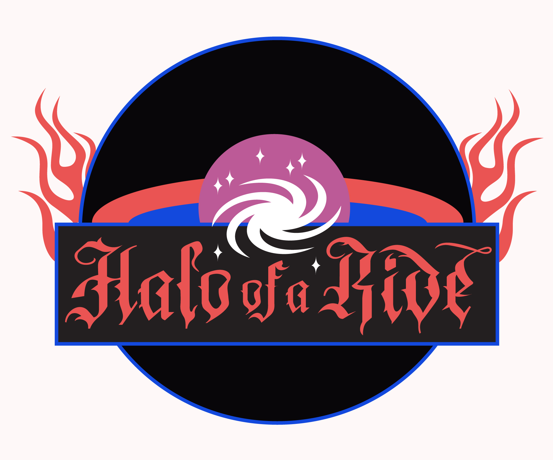 Halo of a Ride: illustration of a physics-themed biker gang patch