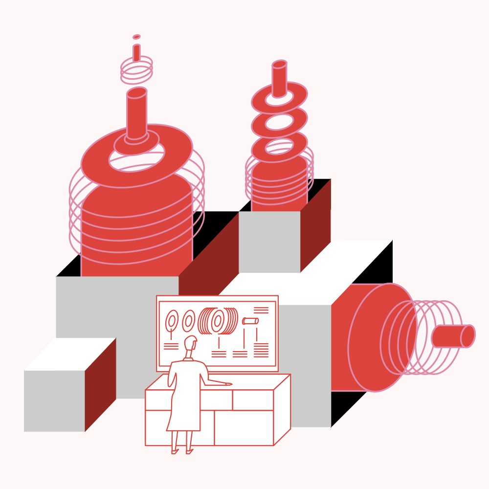 Illustration of scientist working at control panel of large grey and red machine