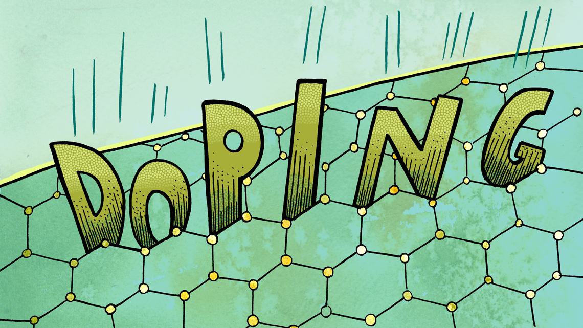 word doping in hexagons graphic