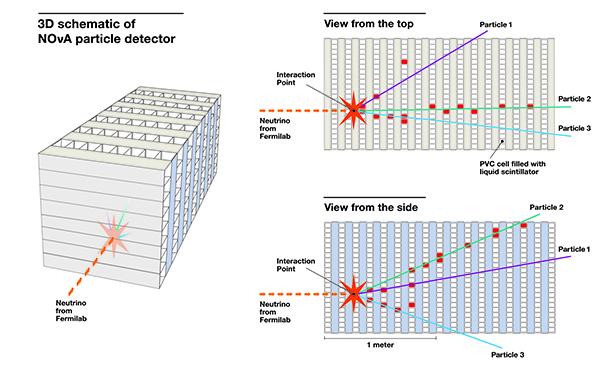 Illustration of NOvA first neutrino chart