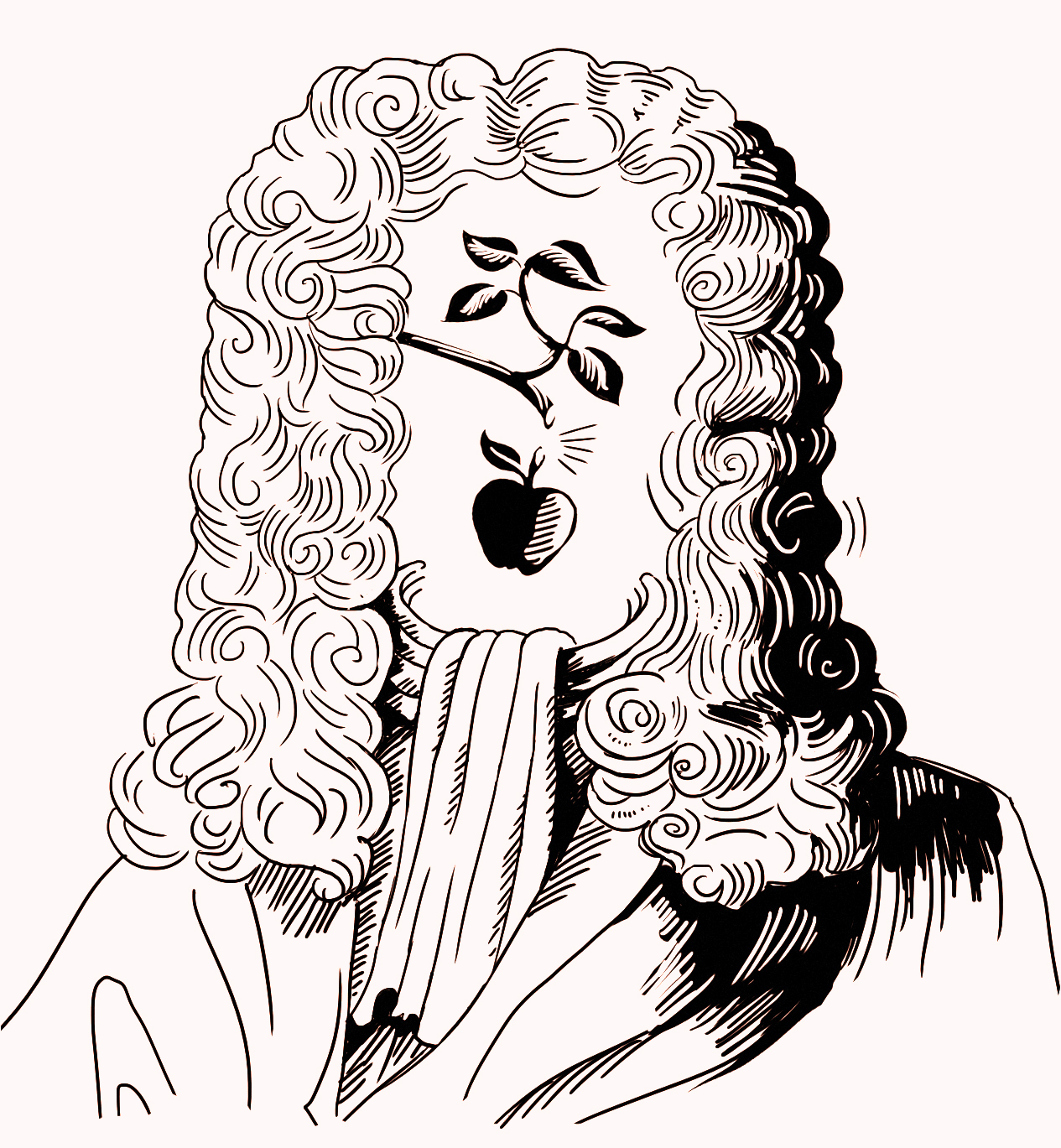 Illustration of Issac Newton with branch and apple over face