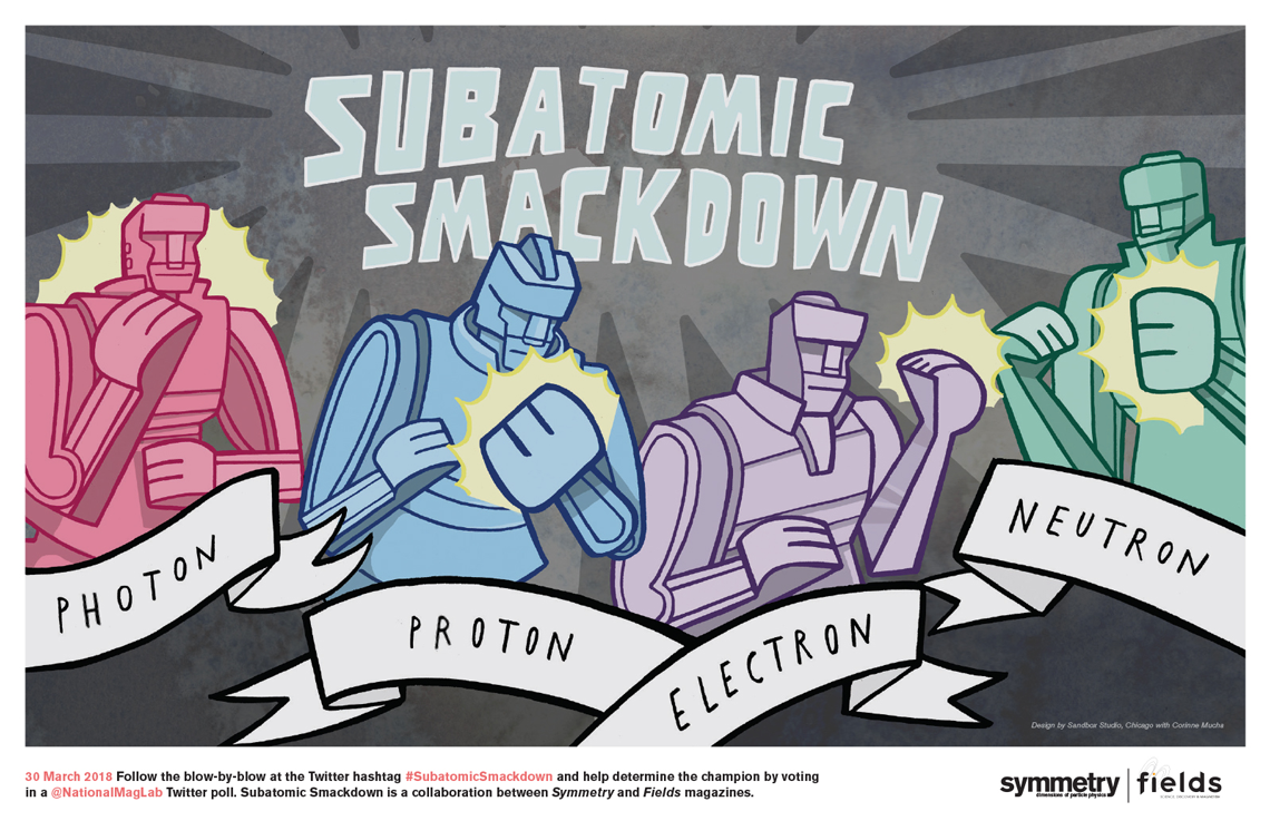 Illustration of Subatomic Smackdown robots photon, proton, electron, neutron
