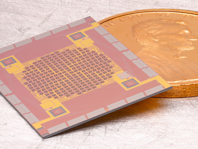 TES array and cover shown with penny coin for scale