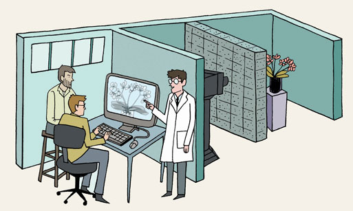 Illustration of three scientists in cubicles looking at monitor