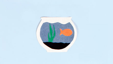 Illustration of goldfish in bowl