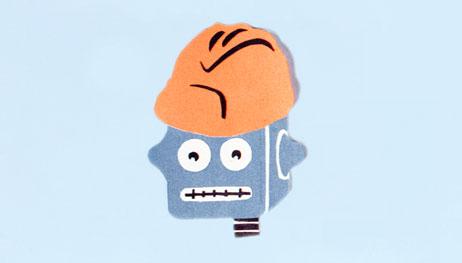 Illustration of robot wearing construction hat