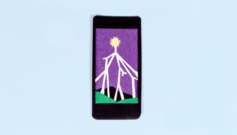Illustration of phone with landscape background: purple sky, sun, lightening bolts, rolling green hills