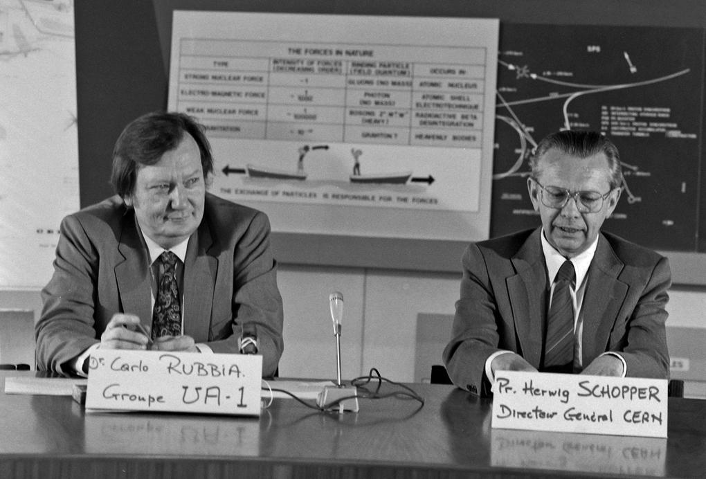 Photo of Z boson CERN press conference