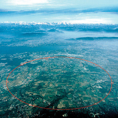 An arial view of CERN