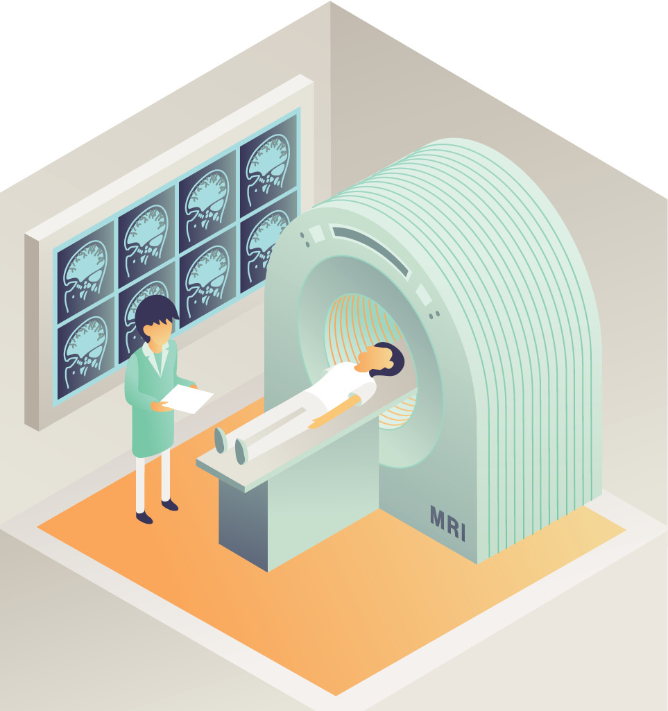 Doctor using MRI machine on patient