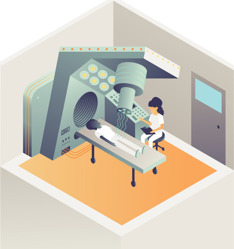 Illustration of woman radiologist using x-ray machine on patient